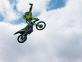 Motocross rider Heel Clicker jump Royalty Free Stock Photo