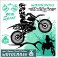 Motocross Rider - vector emblem and logos Royalty Free Stock Photo