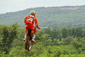 Motocross sport motocross bike in a race fmsct thailand supercross round saraburi nawaphop mx muaklek saraburi thailand on august Stock Photo