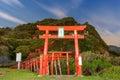 Motonosumi inari shrine in yamaguchi prefecture japan sign reads Stock Photos