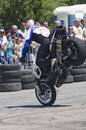 Motor bike acrobatics freestyle stunt rider and times world champion chris pfeiffer engaged in a demonstration during the Stock Image