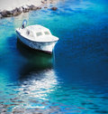 Motor boat on the blue sea Stock Photography