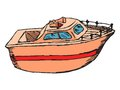 Motor boat hand drawn cartoon sketch illustration of Royalty Free Stock Photography