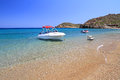 Motor boat at Vai beach on Crete Stock Photos