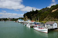 Motor boats and boat sheds Royalty Free Stock Photo