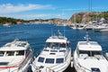 Motor boats in a marina Royalty Free Stock Photo