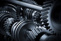 Motor, engine close-up. Gears, cogwheels, real engine elements Royalty Free Stock Photo