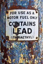 "Motor fuel only sign this early 's pump has a warning ""for use as a only"" Royalty Free Stock Photography"