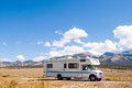 Motor home near the great sand dunes colorado Stock Photography