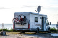 Motor home rv a parked near the sea Stock Photography