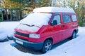 Motor home in the snow. Stock Photos