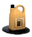 Motor oil bottle in oil leak plastic standing Royalty Free Stock Photos