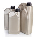 Motor oil containers on white background Stock Photography