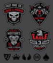 Motor patches emblem set original sport inspired patch with coordinating icon elements available in eps vector for easy editing Royalty Free Stock Photo