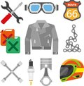 Motor racer accessories and motorcycle car spare parts vector icons Royalty Free Stock Photo