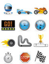Motor racing icons Stock Photos