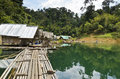 Motor raft wharf floating home of the forest staff in ratchaprapha dam at khao sok national park surat thani thailand Stock Photography