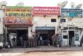 Motor repair shop mussafah abu dhabi car shops run by migrant workers in city Stock Image