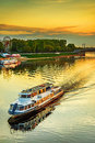 Motor ship sails on river volga at sunset in tver russia Stock Photo
