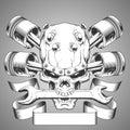 Motor skull emblem Royalty Free Stock Photo