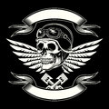 Motor skull vector graphic. Motorcycle vintage