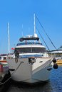 Motor yacht over harbor pier odessa ukraine Royalty Free Stock Photo