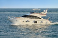 Motor yacht white boat in a sea Stock Images