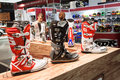 Motorbike boots at eicma in milan italy november on display international motorcycle exhibition on november Stock Photo