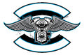 Motorbike club badge with engine and wings vector of suitable as a logo team t shirt print sticker etc all element are Royalty Free Stock Photography