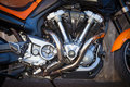 Motorbike engine with exhaust pipes Stock Photo