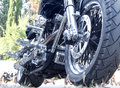 Motorbike extremely interested side view from earth Royalty Free Stock Photos