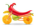 Motorbike of fruits and vegetables on a white background Royalty Free Stock Photo