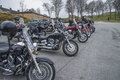 Motorbike meeting at fredriksten fortress bikes lined up every year in may there is a motorcycle in halden norway in this photo Royalty Free Stock Photography