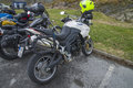 Motorbike meeting at fredriksten fortress triumph tiger every year in may there is a motorcycle in halden norway in this photo Stock Image