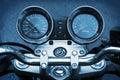 Motorbike motorcycle blue background Royalty Free Stock Photo