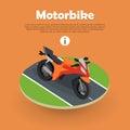 Motorbike on Part of Road. Motorcycle, Bike, Cycle