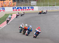Motorbike race some riders racing at moto grand prix of catalunya on june in barcelona spain Royalty Free Stock Photos