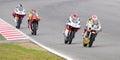 Motorbike race some riders racing at moto grand prix of catalunya on june in barcelona spain Royalty Free Stock Photos