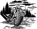 Motorbike racer vector illustration vinyl ready design Royalty Free Stock Photo