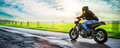 Motorbike on the road riding. having fun riding the empty road Royalty Free Stock Photo