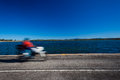 Motorbike Speed Blur Lagoon Road Stock Photos