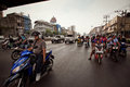 Motorbike traffic in Bangkok Stock Photos