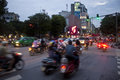 Motorbikes on busy road hanoi august unidentified riders ride august in hanoi vietnam motorbike is the most favorite vehicle Royalty Free Stock Images