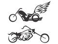 Motorbikes choppers vector illustration silhouette of two Stock Image