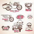Motorbikes emblems and labels set Royalty Free Stock Photo