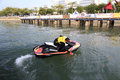 Motorboat athletes performing technology in wuyuanwan bay amoy city china Stock Photos