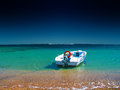 Motorboat at a beach luxury holidays in exotic countries Stock Photo