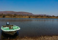 Motorboat at national wildlife reserve loskop south africa Stock Image
