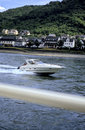 Motorboat- Rhine river, Germany Royalty Free Stock Photos