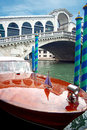 Motorboat and Rialto Bridge Royalty Free Stock Photos
